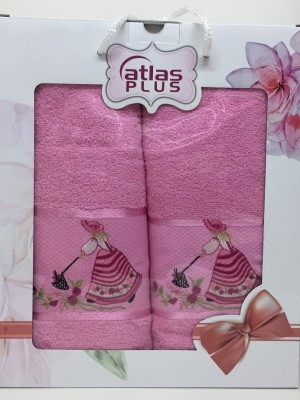 Розовый Дамское счастье М ( 50х90+70х140) в коробке Атлас Текстиль
