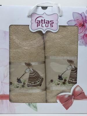 Бежевый Дамское счастье М ( 50х90+70х140) в коробке Атлас Текстиль