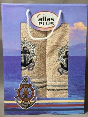 Бежевый Якорь М ( 50х90+70х140) в коробке Набор полотенец Атлас Текстиль