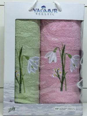 Салат-Розовый Подснежник М ( 50х90+70х140) в коробке Атлас Текстиль