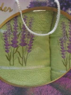 Салатовый Лаванда М ( 50х90+70х140) в коробке Атлас Текстиль