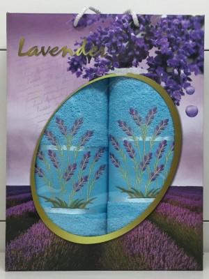 Бирюза Лаванда М ( 50х90+70х140) в коробке Атлас Текстиль