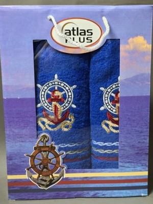 Светло Синий Якорь М ( 50х90+70х140) в коробке Набор полотенец Атлас Текстиль