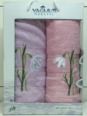 Сирень-Розовый Подснежник М ( 50х90+70х140) в коробке Атлас Текстиль