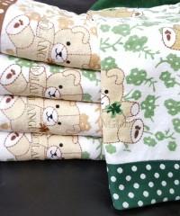 C-2079-Мишки Зеленые 70х140 (5 шт ) Япония-BOLANGDE полотенце LIKE TEXTILE