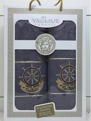 Капучинно Якорь М ( 50х90+70х140) в коробке Набор полотенец Атлас Текстиль