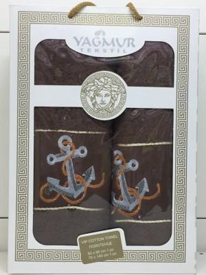 Коричневый Якорь М ( 50х90+70х140) в коробке Набор полотенец Атлас Текстиль