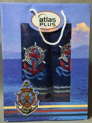 Темно Синий Якорь М ( 50х90+70х140) в коробке Набор полотенец Атлас Текстиль