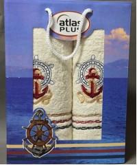 Кремовый Якорь М ( 50х90+70х140) в коробке Набор полотенец Атлас Текстиль