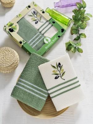 7601 Зеленый Оливки В (50х70)х2шт в коробке Набор кухонный Метеор