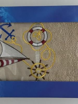 Бежевый Якорь М ( 70х140) в коробке Набор полотенце Атлас Текстиль
