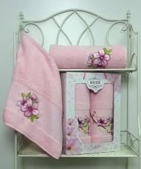 8430 Светло Розовый SAKURA (50х90+70х140 ) в коробке Набор полотенец MERZUKA