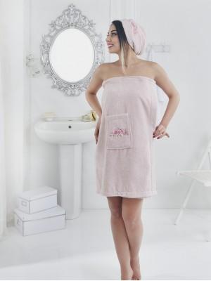 2607 Розовый PERA Сауна жен. махра в подарочной упаковке Карна
