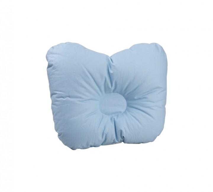 Детская ортопедическая пуховая подушка для новорожденного «Серый гусенок» 21x25 см наполнитель: серый гусиный пух категории премиум ткань: голубой тик импортный (100% хлопок). Кант - белый.&10;
