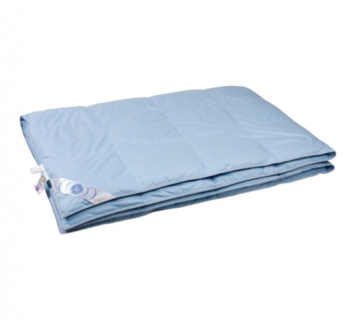 """Купить одеяло кассетное облегченное """"Дуэт"""" 150х200 см наполнитель: серый пух водоплавающей птицы первой категории ткань: голубой тик импортный (100% хлопок). Кант - серый"""