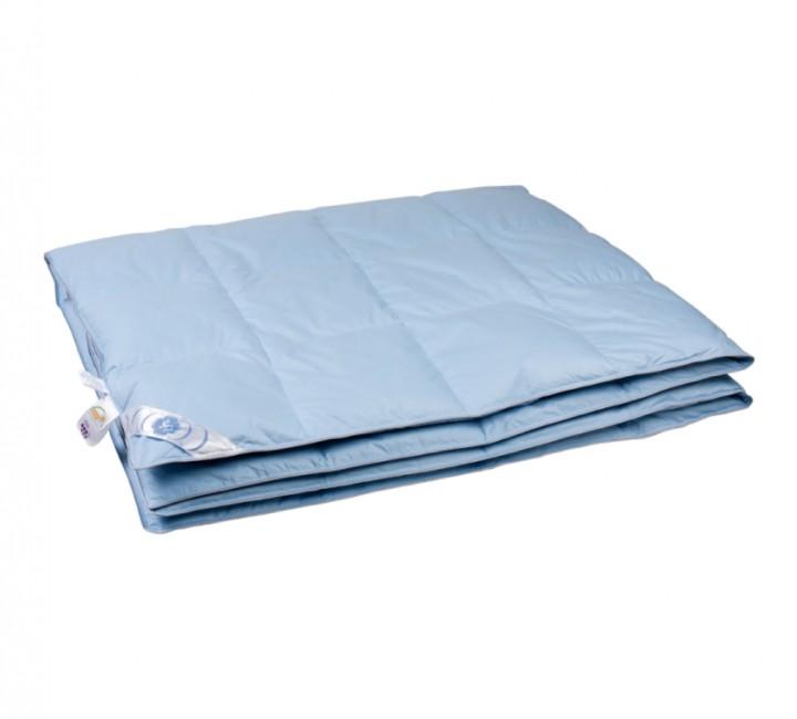 """Купить одеяло кассетное теплое """"Дуэт"""" 150х200 см наполнитель: серый пух водоплавающей птицы первой категории ткань: голубой тик импортный (100% хлопок). Кант - серый"""