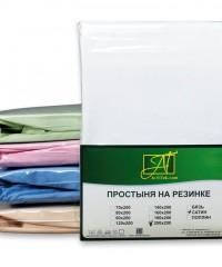 ПР-СО-Р-140-БЕЛ Белая простыня Сатин однотонный на резинке 140х200х25
