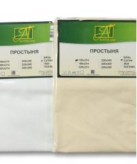 ПР-СЖ-Р-140-КРЕМ Кремовая простыня Сатин Жаккард на резинке 140х200х25