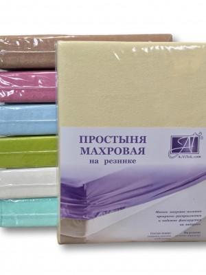 ПМР-КРЕМ-160 Кремовая простыня махровая на резинке 160х200+20