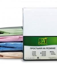 ПР-ПО-Р-140-БЕЛ Белая простыня Бязь однотонная на резинке 140х200х25