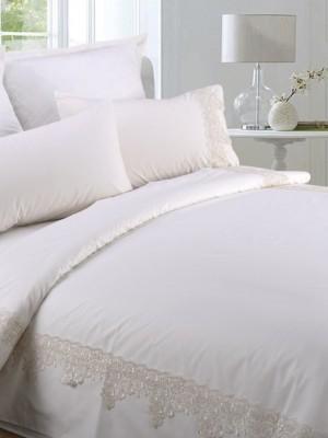 AB-SG 09 комплект постельного белья перкаль с гипюром Valtery 1,5 спальный