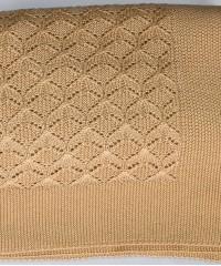 Елочка (соломенный) вязанный плед Valtery 150х200