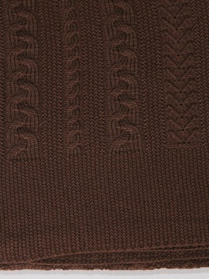Коса (шоколад) вязанный плед Valtery 150х200