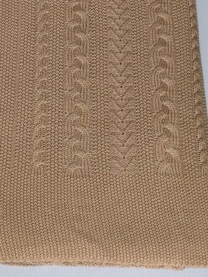 Коса (верблюжий) вязанный плед Valtery 175х210