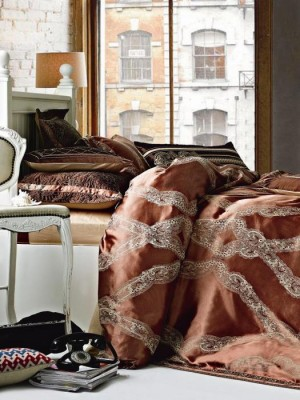 220-97 комплект постельного белья тканный жаккард с вышивкой Valtery Семейный