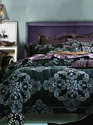 220-89 комплект постельного белья тканный жаккард с вышивкой Valtery 2х спальный