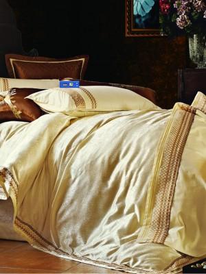 L-24 комплект постельного белья шелковый жаккард с вышивкой Valtery 2х спальный