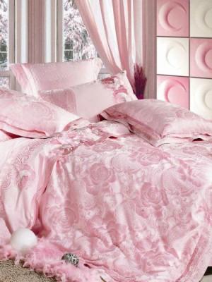 L-06 комплект постельного белья шелковый жаккард с вышивкой Valtery Евро