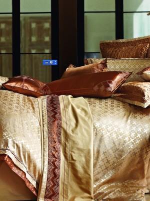L-26 комплект постельного белья шелковый жаккард с вышивкой Valtery 2х спальный