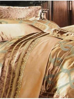 L-27 комплект постельного белья шелковый жаккард с вышивкой Valtery 2х спальный