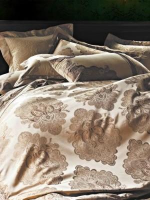L-23 комплект постельного белья шелковый жаккард с вышивкой Valtery Евро