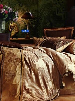 L-28 комплект постельного белья шелковый жаккард с вышивкой Valtery Семейный