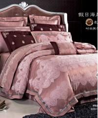 L-33 комплект постельного белья шелковый жаккард с вышивкой Valtery Евро