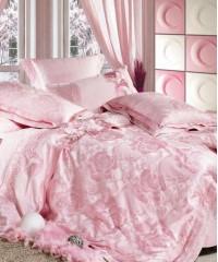 L-06 комплект постельного белья шелковый жаккард с вышивкой Valtery Семейный