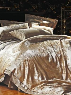 L-15 комплект постельного белья шелковый жаккард с вышивкой Valtery 2х спальный
