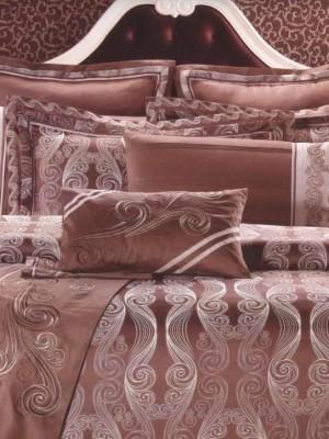 L-31 комплект постельного белья шелковый жаккард с вышивкой Valtery 2х спальный