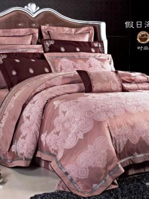 L-33 комплект постельного белья шелковый жаккард с вышивкой Valtery 2х спальный