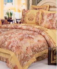 110-44 комплект постельного белья Сатин с вышивкой с отделкой габеленом Valtery Евро