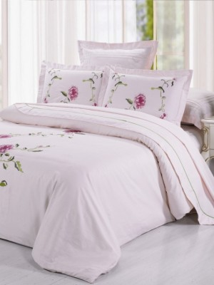 100-55 комплект постельного белья Сатин с вышивкой Valtery Евро