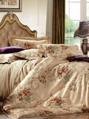 110-64 комплект постельного белья Сатин с вышивкой с отделкой габеленом Valtery Евро