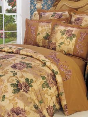 110-06 комплект постельного белья Сатин с вышивкой с отделкой габеленом Valtery Евро