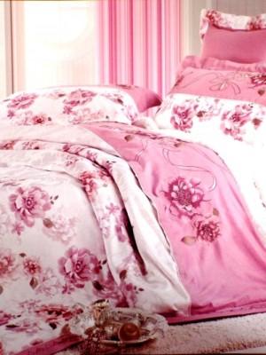 110-50 комплект постельного белья Сатин с вышивкой с отделкой габеленом Valtery Евро
