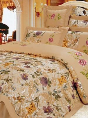 110-25 комплект постельного белья Сатин с вышивкой с отделкой габеленом Valtery Евро