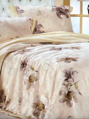 110-52 комплект постельного белья Сатин с вышивкой с отделкой габеленом Valtery Евро