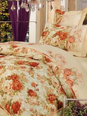 110-28 комплект постельного белья Сатин с вышивкой с отделкой габеленом Valtery Евро