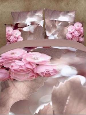 Комплект Постельного  Белья 3D Сатин Цветы Сатин танго  cs062-3 Евро
